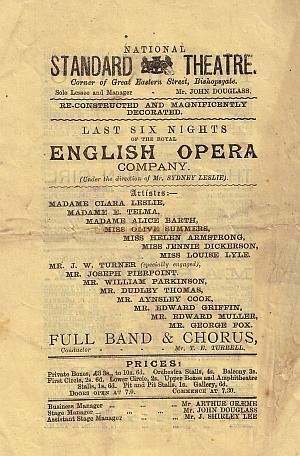 Programme for the National Standard Theatre - Year unknown.