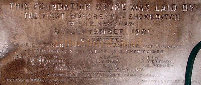 The Foundation Stone of the 1901 expansion to The Town Hall Shoreditch during renovation works M.L. 2004