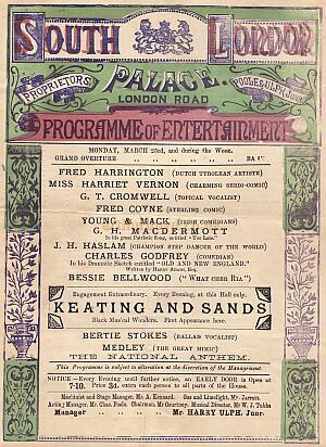 A Music Hall Programme for the South London Palace Circa 1880s - Click for details