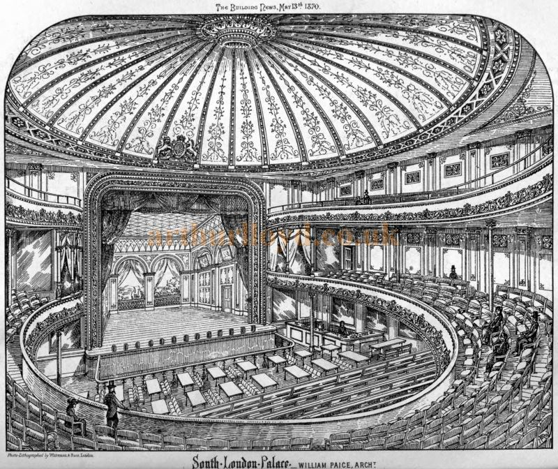 The Auditorium and Stage of the South London Palace - From the Building News and Engineering Journal, 13th of May 1870.