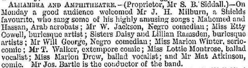A cutting from the ERA of the 24th of September 1876 advertising J. H. Milburn's appearance at the Alhambra and Ampitheatre, South Shields.