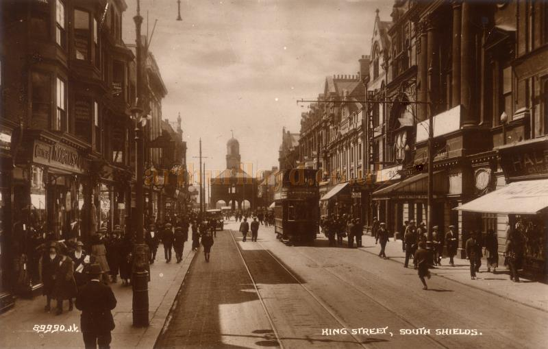 A period postcard showing the High Street, South Shields, with the Theatre Royal and Empire Theatre to the right - Courtesy Maurice Friedman, British Music hall Society.