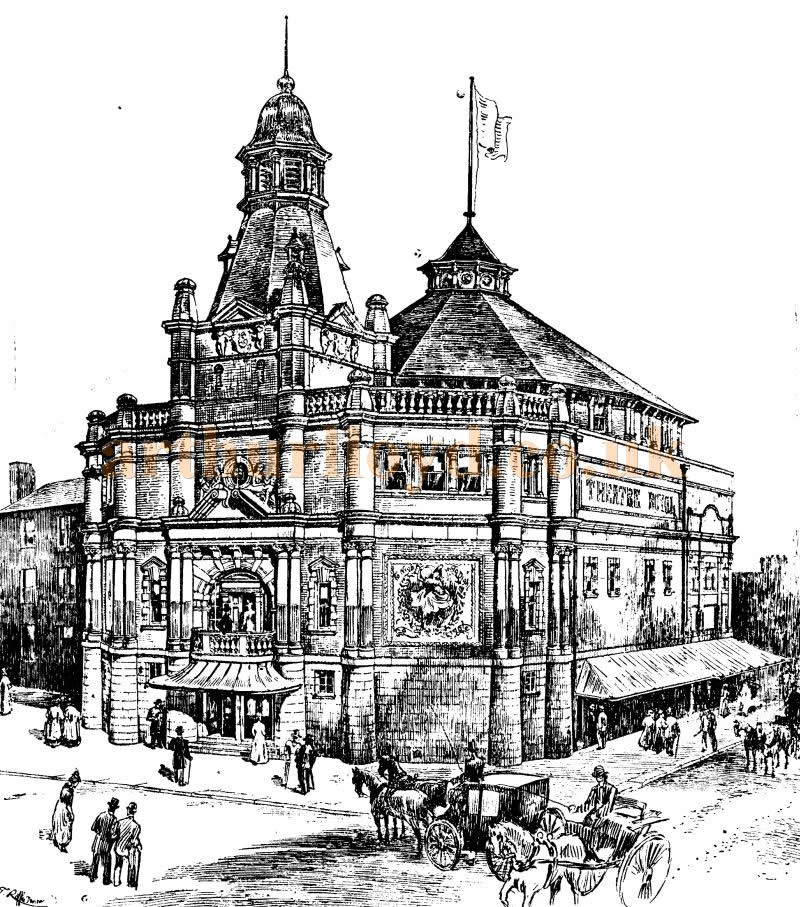 A Sketch of the Grand Theatre, Southampton shortly before its opening and here bearing the name Theatre Royal although the Theatre actually opened as the Grand - From the ERA, 5th of November 1898.