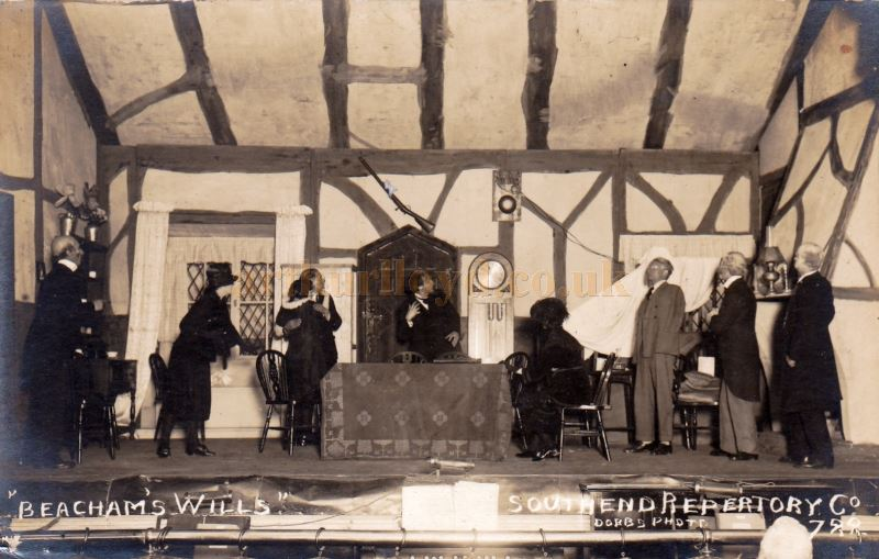 A Postcard showing the Southend Repertory Company's Production of 'Beacham's Wills' - Courtesy Dan Raymond  - Click to see many more of these postcards