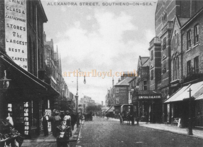 Alexandra Street, Southend showing the Empire Theatre with its original frontage in a 1908 postcard