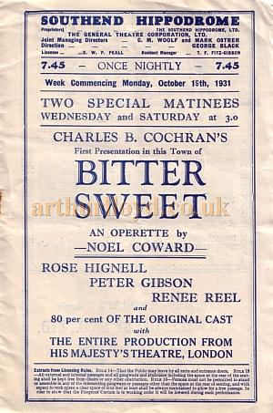 A detail from a programme for a Charles B. Cochran production of Noel Coward's 'Bitter Sweet' at the Hippodrome, Southend in October 1931 - Kindly donated by Jan Davies.