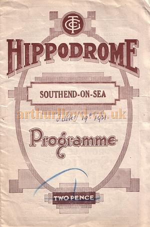 A programme for a Charles B. Cochran production of Noel Coward's 'Bitter Sweet' at the Hippodrome, Southend in October 1931 - Kindly donated by Jan Davies.
