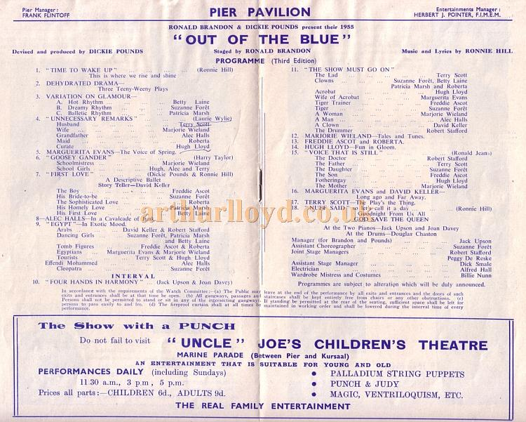 Cast Details for 'Out of the Blue' at the Pier Pavilion, Southend in the 1955 - Kindly donated by Jan Davies.
