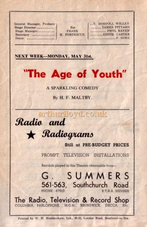 The back of a programme for the Plaza Repertory Company's production of 'Double Door' at the Plaza Theatre, Southend for the week of Monday 31st of May 1948, and advertising 'The Age of Youth' to be played at the Theatre the following week - Kindly Donated by Jan Davies.