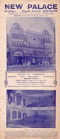 An early Programme for 'Driven' and 'The Burglar' at the Palace Theatre, Westcliff-on-Sea, Southend.