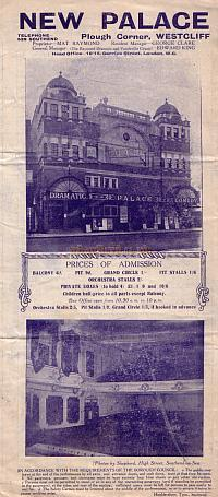 An early Programme for 'The Easiest Way' at the Palace Theatre, Westcliff-on-Sea, Southend.