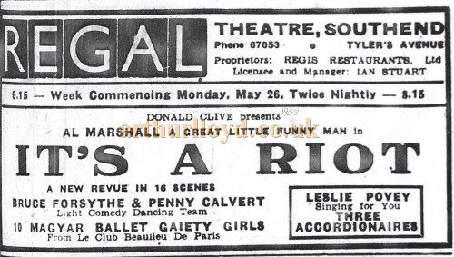 An advertisement for 'It's A Riot', with Bruce Forsyth and Penny Calvert, at the Regal Theatre, Southend in May 1952 - Courtesy Nick Bridge.