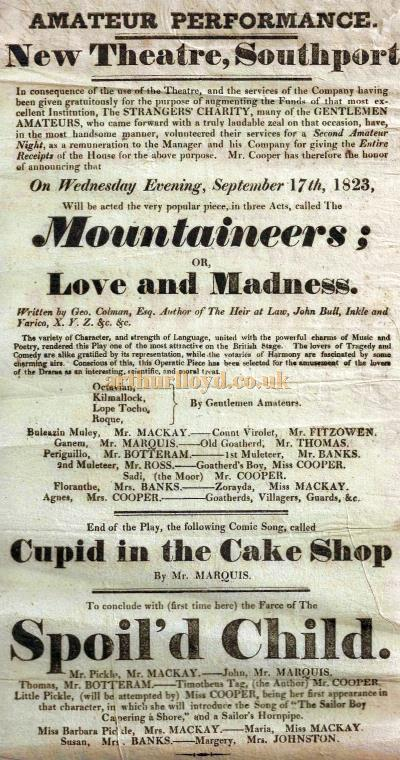 A Bill for 'Mountaineers; or Love and Madness', 'Cupid in the Cake Shop', and 'Spoil'd Cild' at the New Theatre, Southport in September 1823 - Courtesy George Richmond.