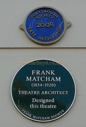 Plaques on the King's Theatre, Southsea celebrating the work of the Theatre's Architect, Frank Matcham, and the Restoration of the Theatre in 2008 - Courtesy B.F.