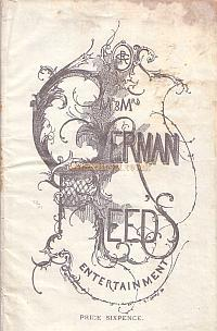 Programme cover for 'Cherry Tree Farm' and 'All at Sea' from 'Mr. and Mrs. German Reed's Entertainment' at the St. George's Hall in October 1881.