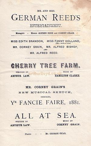 Programme detail for 'Cherry Tree Farm' and 'All at Sea' from 'Mr. and Mrs. German Reed's Entertainment' at the St. George's Hall in October 1881.