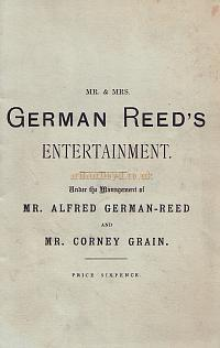 Left - Programme cover for 'An Odd Pair,' 'Piano on Tour,' and 'Box B' from 'Mr. and Mrs. German Reed's Entertainment' at the St. George's Hall.