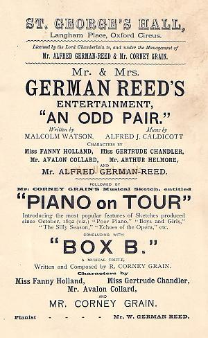 Programme detail for 'An Odd Pair,' 'Piano on Tour,' and 'Box B' from 'Mr. and Mrs. German Reed's Entertainment' at the St. George's Hall.
