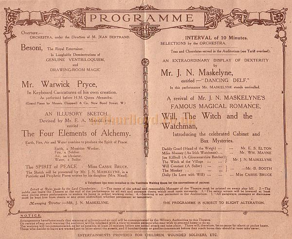 Programme detail for the St. George's Hall, England's Home of Mystery, under the direction of the Maskelynes Ltd in March 1917.