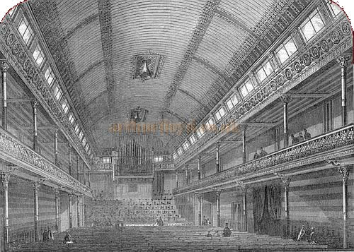 The interior of the St. George's Hall, Langham Place - From the Illustrated London News 1867.