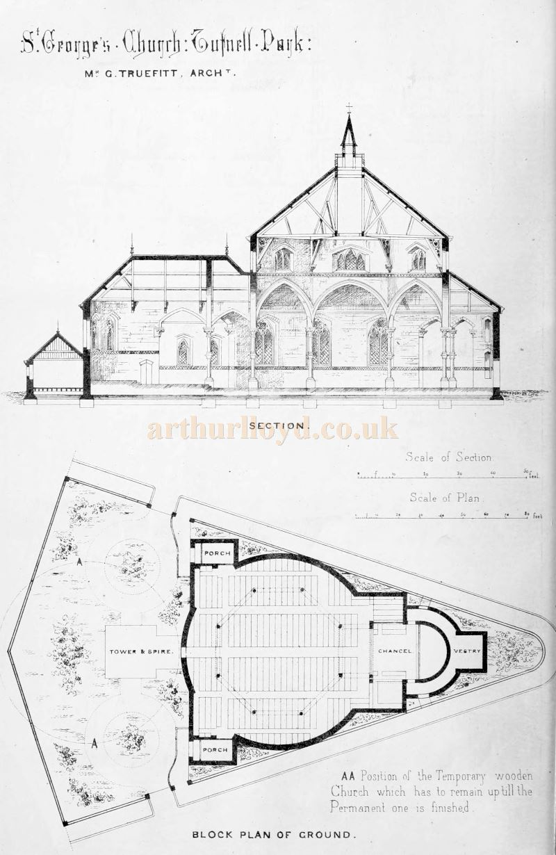 Ground Plans of St. George's Church, Tufnell Park by its Architect George Truefitt - From The Building News and Engineering Journal of 1867.