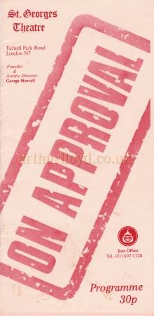 A programme for the St. Georges Theatre repertory production of 'On Approval' .