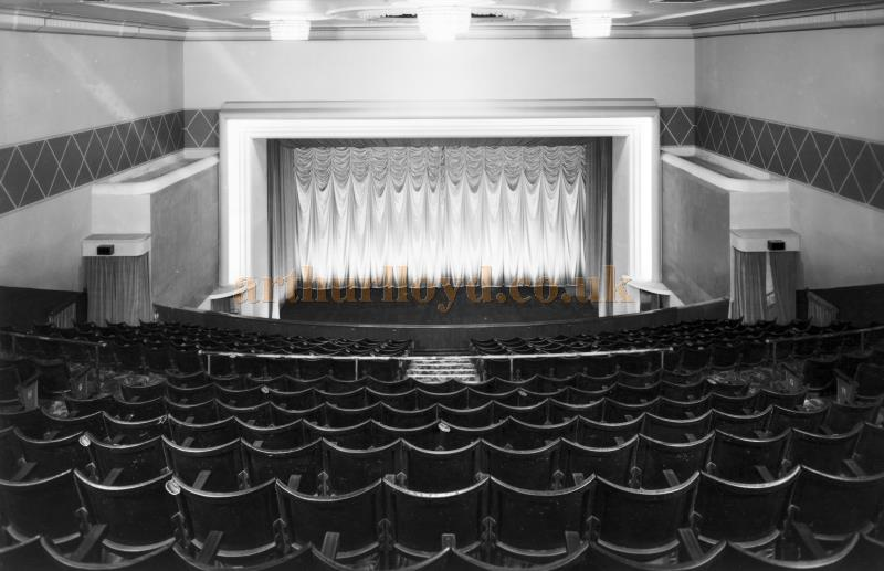 The remodeled auditorium and stage of the St. Helens Hippodrome in 1955 - Courtesy K.R.