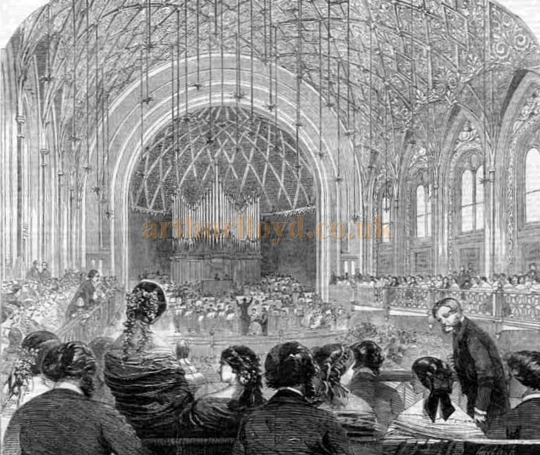 The auditorium and stage of the St. James's Hall - From the 'Illustrated London News' April 10th, 1858