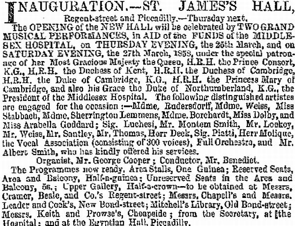 A notice in the ERA of the 21st of March 1858 announcing the Inauguration of the St. James's Hall.