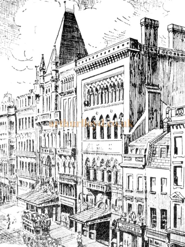 A Sketch of the St. James's Hall, Piccadilly - From 'The Romance of London Theatres' by Ronald Mayes, reproduced in a programme for 'The Queen Bee' at the Prince of Wales Theatre, Coventry Street, London on December the 1st 1930