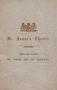 Opening night Programme for the newly reconstructed St. James's Theatre in 1879 with 'Monsieur le Duc,' and 'The Queen's Shilling.'