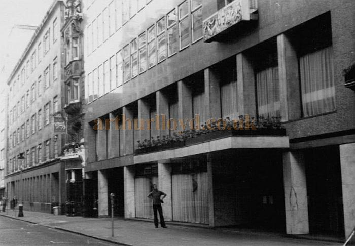 The first building to be constructed on the site of the St. James's Theatre in 1959, St. James's House. This photo was taken in 1968 by Nigel Rideout, who can be seen standing in front of the building.