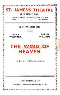 Programme for 'The Wind Of Heaven ' at the St. James's Theatre in 1945, with Diana Wynyard and Emlyn Williams.