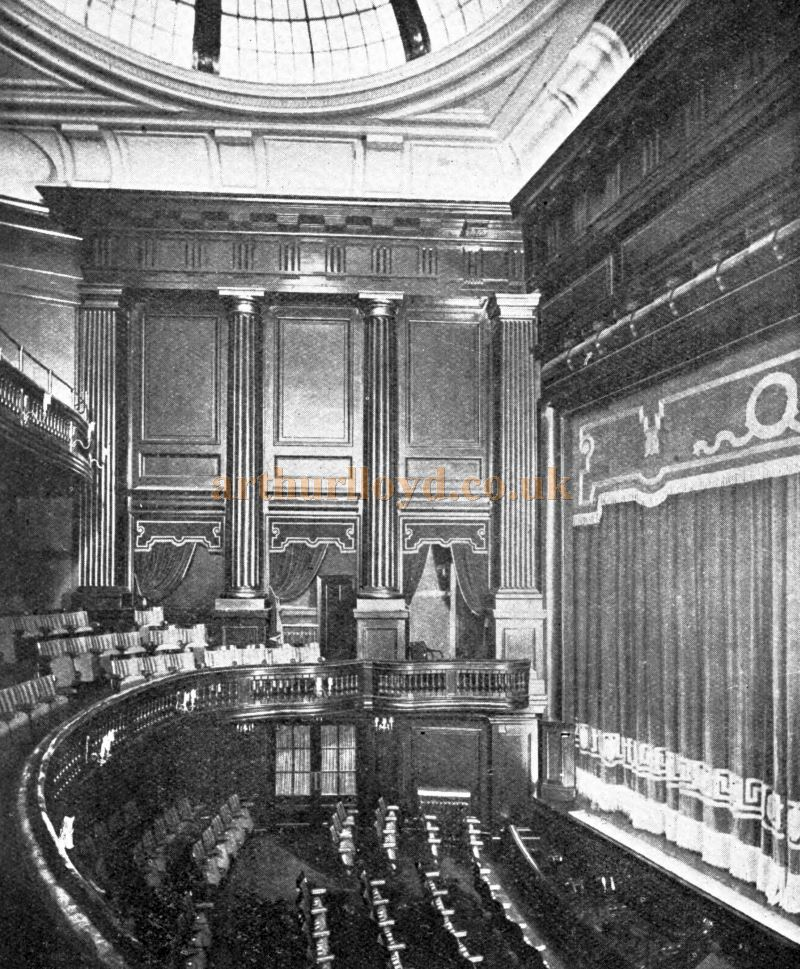 The Auditorium and Stage of St. Martin's Theatre - From an advertisement for Interior Woodwork by Elliot & Sons Reading Ltd in the Academy Architecture and Architectural Review of 1921.