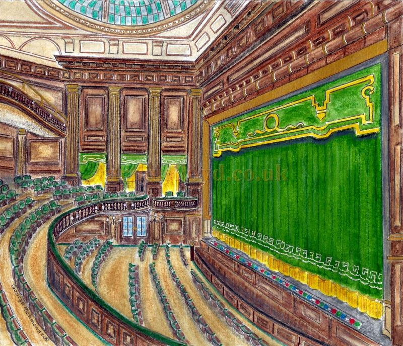 A Painting by George Richmond depicting the auditorium of W. G. R. Sprague's St. Martin's Theatre of 1916.
