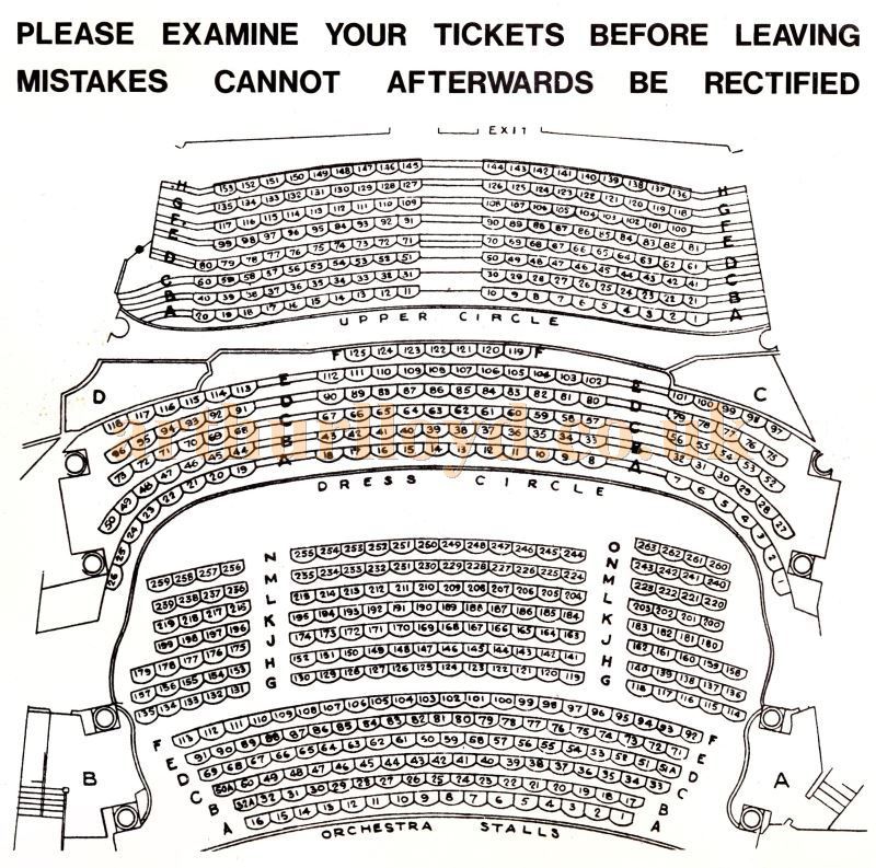 A Seating Plan for the St. Martin's Theatre, London - Courtesy Martin Clark and Doreen Gould.