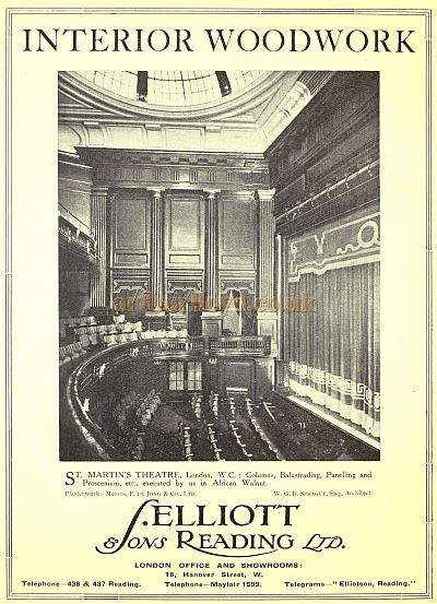 An advertisement for the Interior Woodwork of the St. Martin's Theatre by Elliot & Sons Reading Ltd in the Academy Architecture and Architectural Review of 1921.