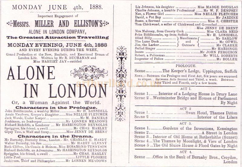 The opening night programme for 'Alone in London' at the Theatre Royal, Stockport on June the 4th 1888 - From the Theatre's Jubilee Programme June 6th, 1938.