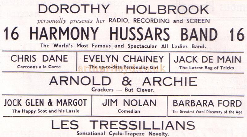 The attractions on offer on the week of Monday the 6th of June 1938 at the Theatre Royal, Stockport - From the Theatre Royal, Stockport's Jubilee Programme June 6th, 1938.
