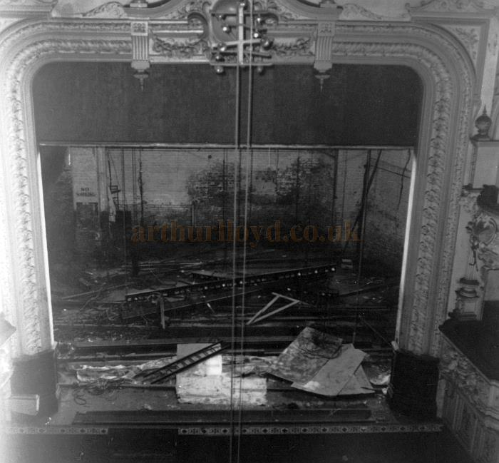 The stage of the Theatre Royal, Stockport during the Theatre's demolition in the summer of 1962 - Photograph John Richardson - Courtesy Martin Stafford.