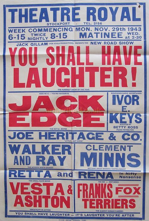 A poster for the variety show 'You Shall Have Laughter!' at the Theatre Royal, Stockport on November the 29th, 1943.
