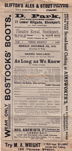 Programme Detail for 'As Long As We Know' at the Theatre Royal, Stockport on December the 19th, 1918.