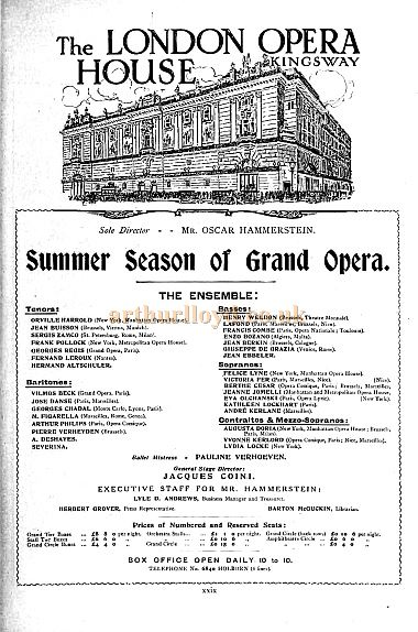 An Advertisement carried in the Pall Mall Magazine for Oscar Hammerstein's Summer Season of Grand Opera at the London Opera House, Kingsway in April 1912.