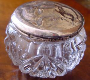 A glass jar which commemorated the show 'Come Over Here' at the London Opera House in April 1913 - Kindly donated by Angela Kirk.
