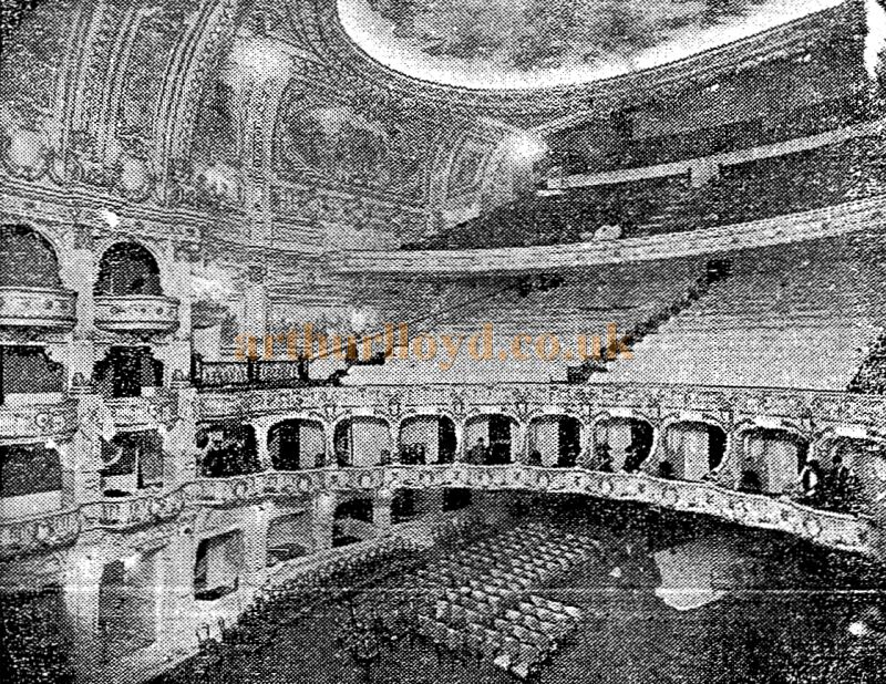 A photograph of the London Opera House Auditorium - From the Stage Newspaper November 2nd 1911
