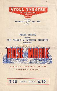Programme for Rose Marie at the Stoll Theatre 1942