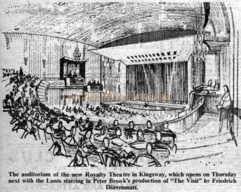 The Auditorium of the Royalty Theatre on its opening in June 1960 with a production of 'The Visit' - From The Stage Newspaper, June 16th 1960.