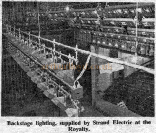 The Royalty Theatre's Lighting equipment - From the Stage Newspaper, 23rd of June 1960.