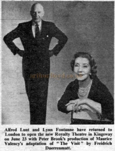 Alfred Lunt and Lynn Fontanne who stared in the opening production of 'The Visit' at the Royalty Theatre in June 1960 - From The Stage Newspaper, June 2nd 1960.