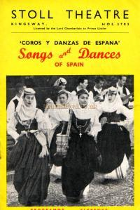 A programme for 'Songs and Dances of Spain' at the Stoll Theatre in 1952.